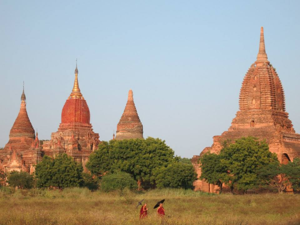 Buddhist Monks, Bagan, Myanmar